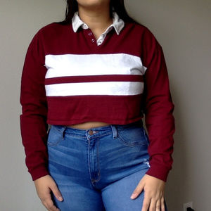 Forever 21 maroon and white polo Large